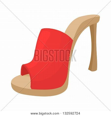 Female red opened shoe icon in cartoon style on a white background