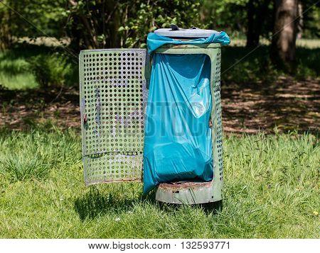 Broken Litter Bin In The Park