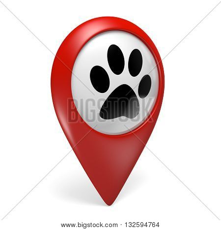 Red map pointer icon with a paw symbol for pet shops and pet services, 3D rendering