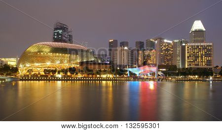 SINGAPORE - APRIL 10 2016: Esplanade - Theatres on the Bay is a performance and art center located in Marina Bay. It is nicknamed the Durian by the Singaporeans because of its spikey appearance.