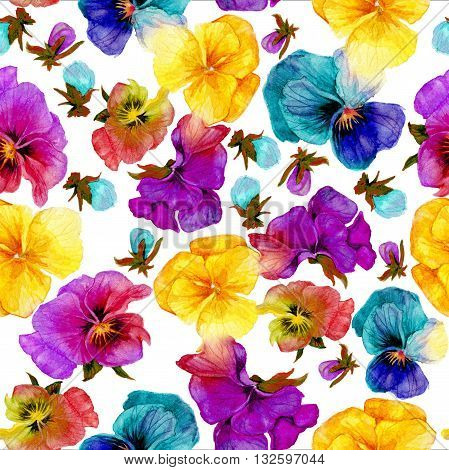 Flower pattern watercolor painting on white background