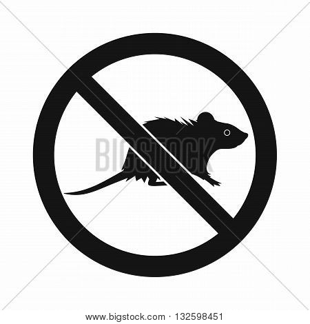 No rats sign icon in simple style isolated on white background