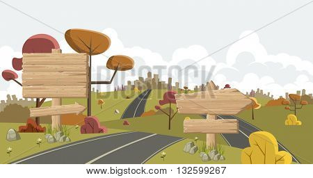Cartoon road with wooden sign . Ad signs.