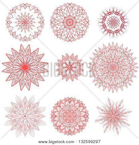 geometric chrysanthemums ornament vector set. Various shapes flower set. Set of nine isolated geometric flowers