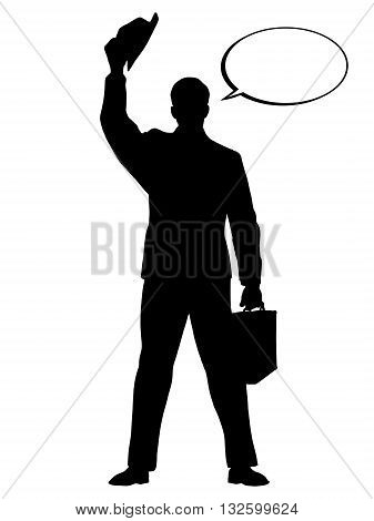 Hello businessman hat gesture pop art retro vector. Black silhouette. Conceptual business vector. Figure form icon.