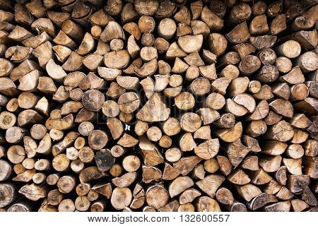 Background of wooden logs. Year rings. Pile wood. Deforestation theme. Wood industry. Chopped wood. Woodpile scene.