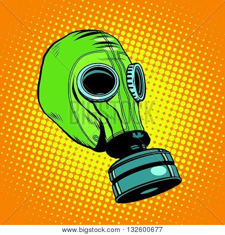 Gas mask, vintage rubber green pop art retro vector. Chemical and biological protection. Military equipment, nuclear contamination. War, Retro background