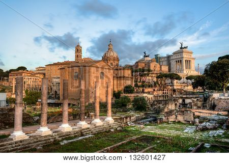 The Forum Romanum at early morning in Rome, Italy