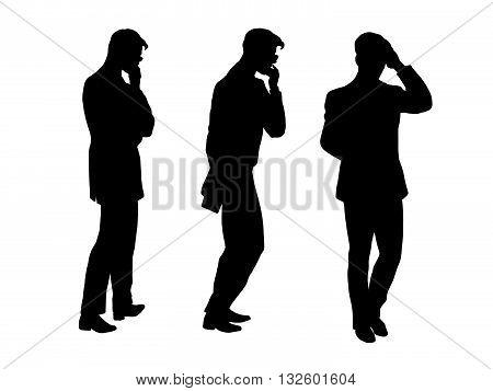 Male businessman thinks goes pop art retro vector. Black silhouette. Brainstorming, creativity. Conceptual business vector. Figure form icon.