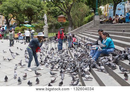 La Paz, Bolivia - October 24, 2015: People feeding pidgeon on Plaza Murillo.