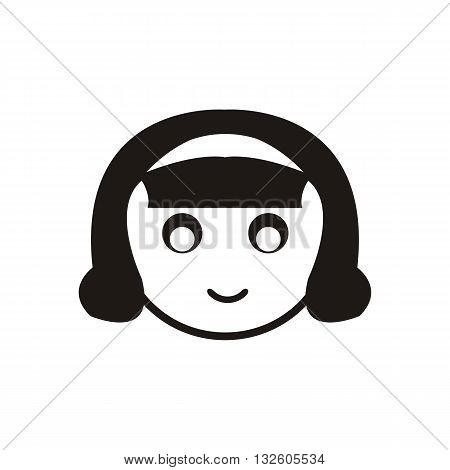 design Baby icon doll_Black face head vector illustration