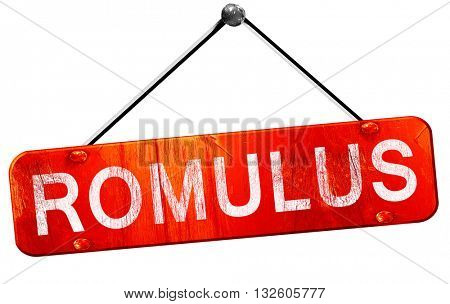 romulus, 3D rendering, a red hanging sign