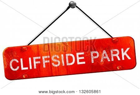 cliffside park, 3D rendering, a red hanging sign