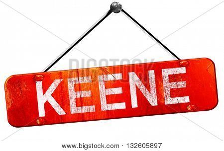keene, 3D rendering, a red hanging sign