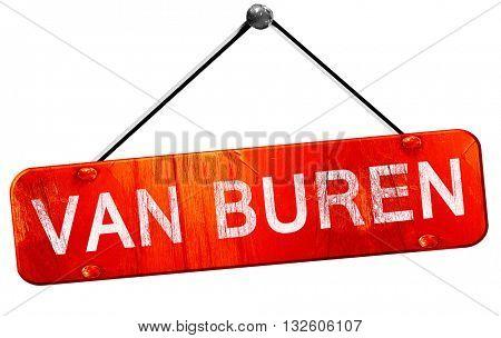van buren, 3D rendering, a red hanging sign