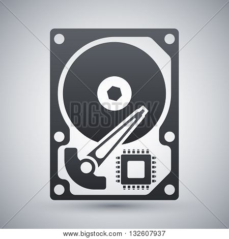 Vector HDD icon. Hard Disk Drive simple icon on a light gray background