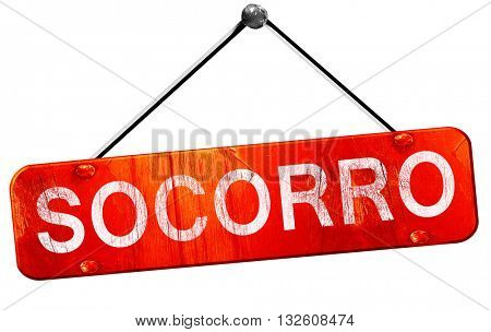 socorro, 3D rendering, a red hanging sign
