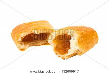 Apple strudel pastries on a White Background
