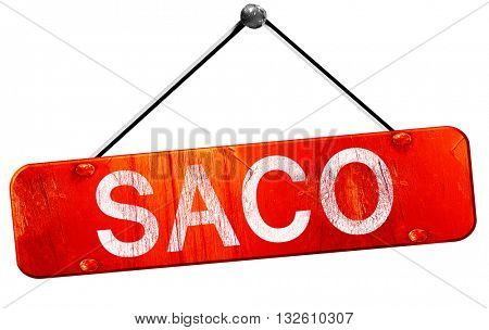 saco, 3D rendering, a red hanging sign