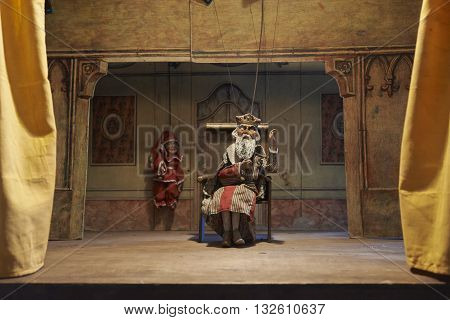 Traditional puppets theater made of wood. Historical Collections