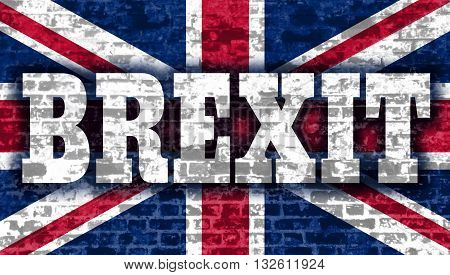 United Kingdom exit from europe relative image. Brexit named politic process. Referendum theme. Brexit text on Britain national flag backdrop textured by brick wall