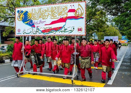 Labuan,Malaysia-Jan 14,2014:Undentified of Labuan muslim people are celebrating Prophet Muhammad's birthday at Labuan town. Its a day where Muslims will gather to commemorate the Prophet's birthday.