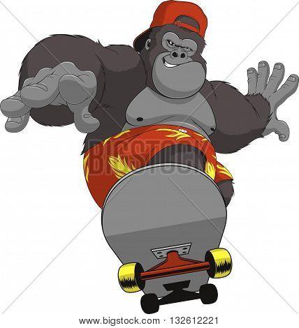 Vector illustration of funny gorilla ride skateboard