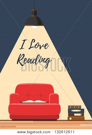 Love reading book concept. Red chair with an open book under the lamp ligh. Vector illustration flat style poster, web banner or flyer