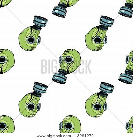 Gas mask seamless vector pattern, vintage rubber green pop art retro vector. Chemical and biological protection. Military equipment, nuclear contamination. War, White background