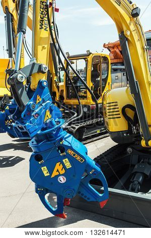 RUSSIA MOSCOW - May 31 2016: exhibits and construction equipment International Specialized Exhibition of Construction Equipment and Technologies at Crocus Expo