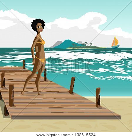Sea landscape summer beach old wooden pier afro black woman dressed in yellow swimsuit. Afro black woman is standing on wooden pier in summer vacation. Vector flat cartoon illustration.