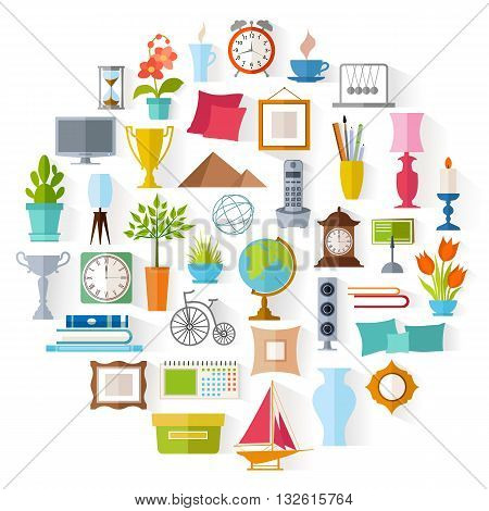 The set of home decor. Accessories icons and souvenirs in a flat style isolated on white background. Vector illustration. Elements of interior design.