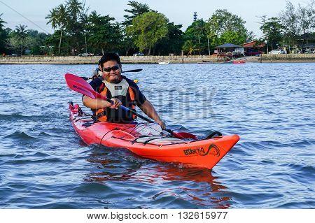 Labuan Malaysia - Jan 30, 2016:Adventurer man exploring sea kayak adventure expedition activity at Labuan Malaysia in conjuction with Hari Wilayah 2016.