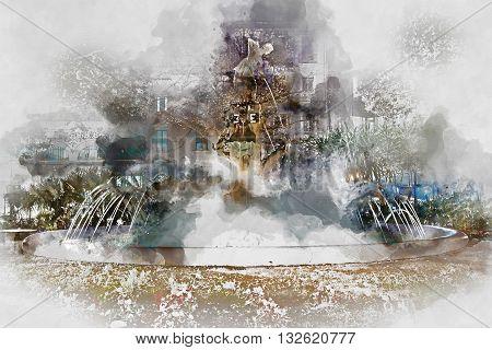 Plaza Gabriel Miro fountain. Digital watercolor painting