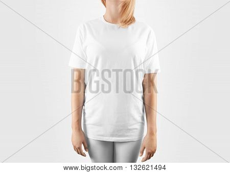 Blank white t-shirt design mockup, isolated, clipping path. Women tshirt clear template front mock up. Empty female apparel uniform singlet model. Sweat tee shirt plain dress surface redy for print.