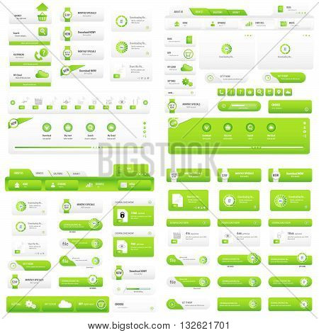 Online services light green button design set for business