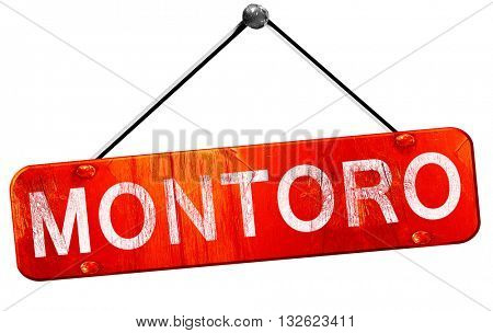 Montoro, 3D rendering, a red hanging sign