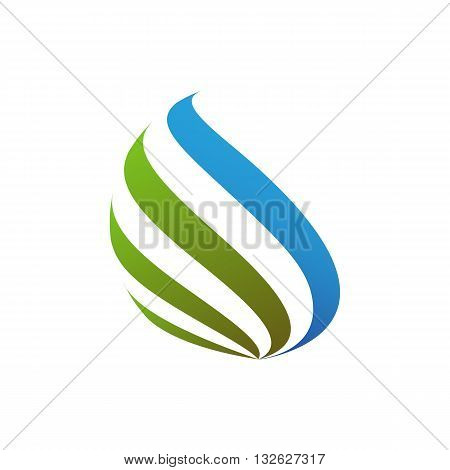 Abstract blue and green design flames vector illustration isolated on white background.