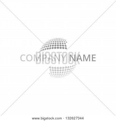 Dotted disco globe logo vector illustration isolated on white background.
