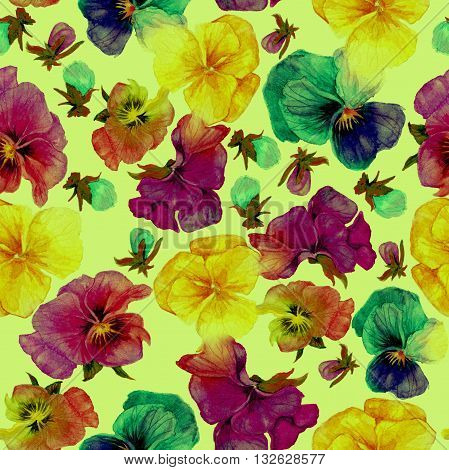 Flower pattern watercolor painting on green background