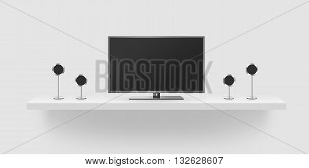 TV flat screen lcd home theatre realistic 3d illustration front tv mock up. Black HD monitor mockup. Modern multimedia theater screen mock-up with speakers. Surround stereo audio system isolated.