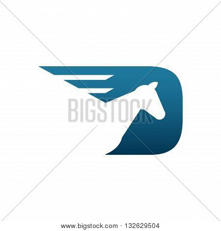 Beautiful blue horse racing logo vector illustration isolated on white backgorund.