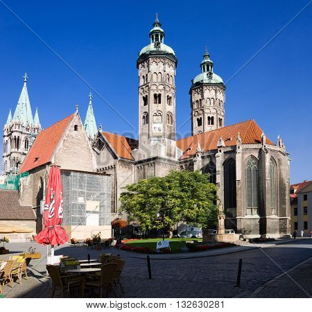NAUMBURG, GERMANY - SEPTEMBER 07, 2010: St. Peter and Paul Cathedral in Naumburg city Saxony-Anhalt Germany. The Naumburger Cathedral of St. Peter and St. Paul is the main architectural landmark of the city.
