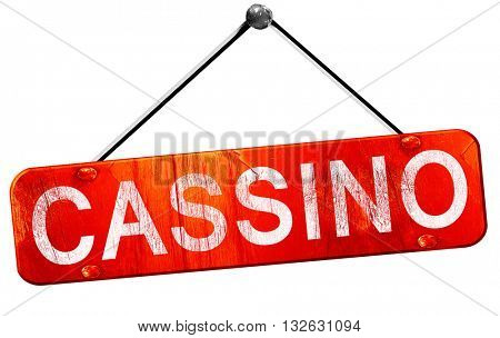 Cassino, 3D rendering, a red hanging sign