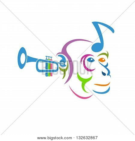 Beautiful cute and colorful musical monkey head vector illustration isolated on white background.