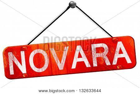 Novara, 3D rendering, a red hanging sign