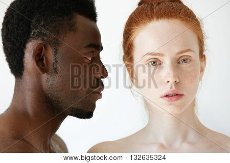 Profile Of African Male Looking At His Beautiful Caucasian Girlfriend Or Wife With Loving And Caring
