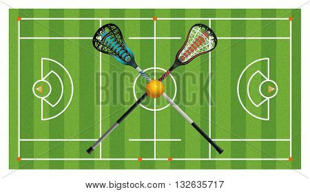 An aerial view of a realistic lacrosse field with crossed sticks and ball. Vector EPS 10 available. poster