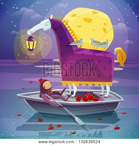 Surreal night dream image of horse with girl in boat with big yellow moon background poster vector illustration