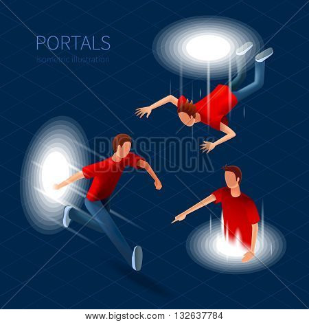 Way Out Portals Icons Set. Way Out Portals Vector Illustration.Portals Decorative Set. Portals  Design Set. Portals Isometric Isolated Set.